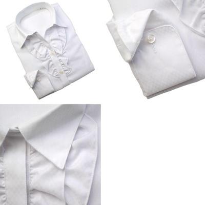 Bespoke Tailor GUY レディース スキッパーフリルドレスシャツ ブラウス