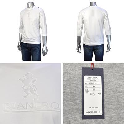 Laura Felice/ BIANERO クルーネック7分袖Tシャツ