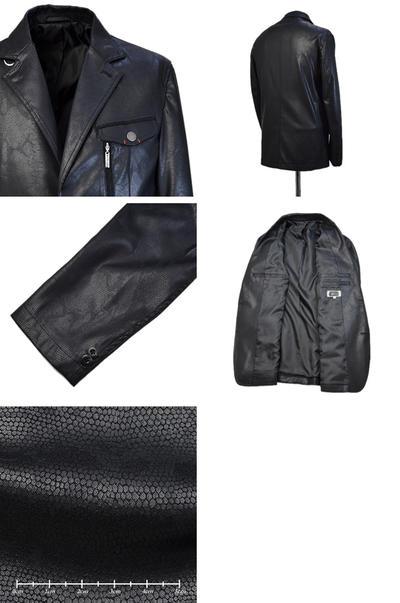 【秋冬物】PAGELO トカゲ革風フェイクレザージャケット