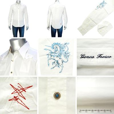 GENCA FRESCO レギュラ-カラーカジュアルシャツ