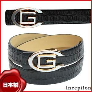Inceptionトップ式Gバックルクロコ型押し牛革ベルト