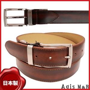 【Lサイズ】Agis M&R ピンバックル牛革ベルト