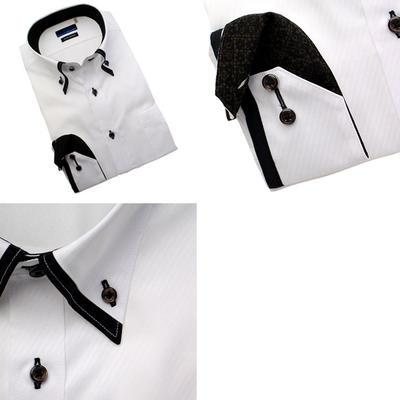 【スリムシルエット】Bespoke Tailor GUY マイターボタンダウンカラードレスシャツ/Yシャツ