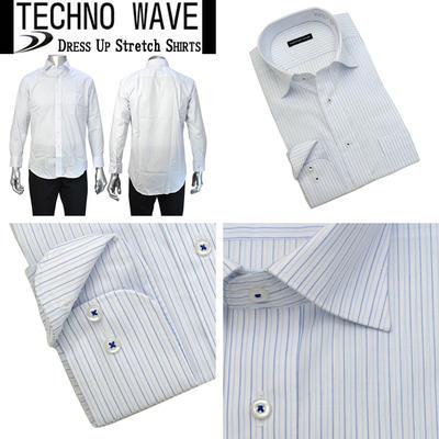 TECHNO WAVE セミワイドカラーストレッチシャツ Yシャツ ドレスシャツ