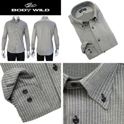 BODY WILD ボタンダウンカラードレスシャツ ニットドレスシャツ Yシャツ ポロシャツ